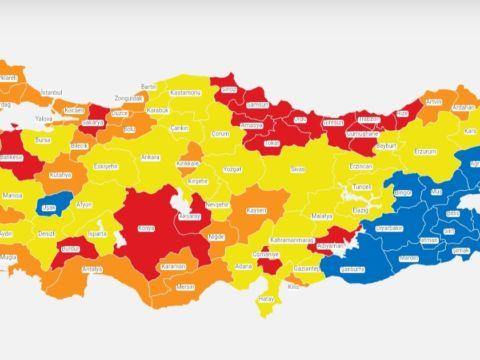 Covid19 map of Turkey